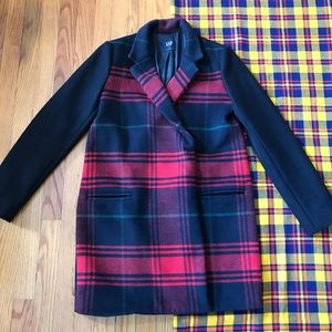 GAP Black Wool Blend Peacoat Plaid Driving Coat